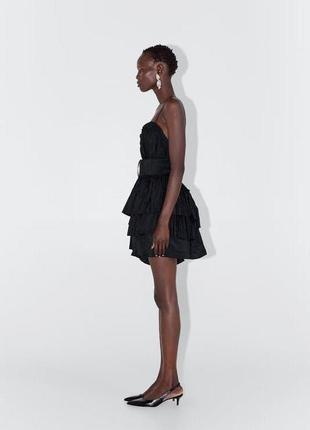 Zara новая коллекция! мини платье с ассиметричным подолом9 фото