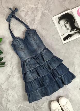 Джинсовое платье с игривыми оборками  dr1933125 only mas life