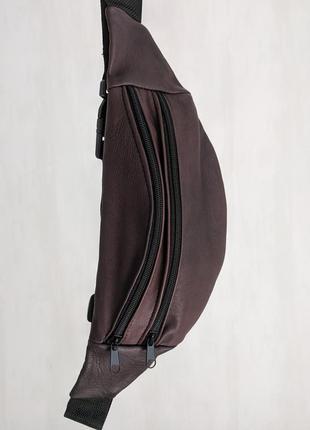 Стильная большая бананка натуральная кожа, модная сумка на пояс коричневая