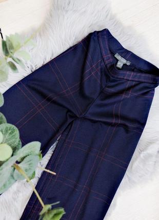 Трикотажные синие брюки в клетку на высокой талии на резинке свободные размер xs