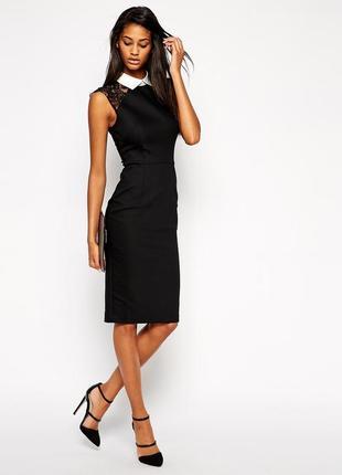 Платье-футляр в стиле питер пен  с кружевными рукавами и воротником asos