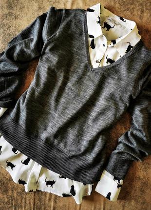 Тонкий шерстяной пуловер, джемпер