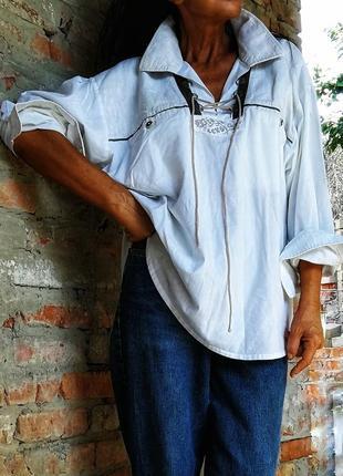 Рубашка винтаж оверсайз oversize landhaus винтажная в бохо стиле хлопок коттон унисекс