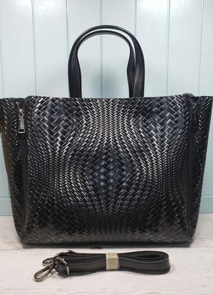 Женская кожаная сумка galanty плетёная жіноча шкіряна
