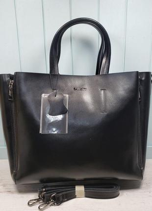 Женская кожаная сумка galanty чёрная большая жіноча шкіряна велика чорна