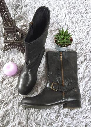 Демисезонные кожаные ботинки полусапожки на молнии
