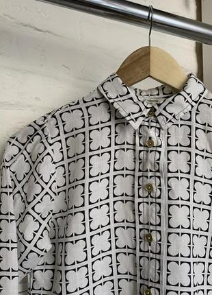 Белая винтажные красивая льняная блуза дорогого бренда