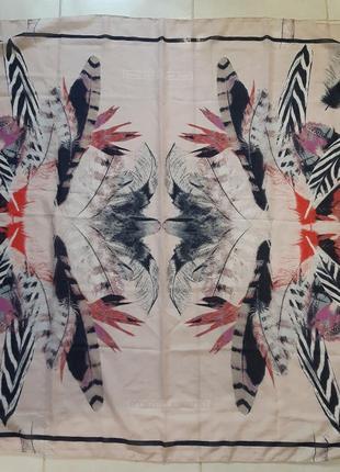Большой платок, принт перья, tom  tailor