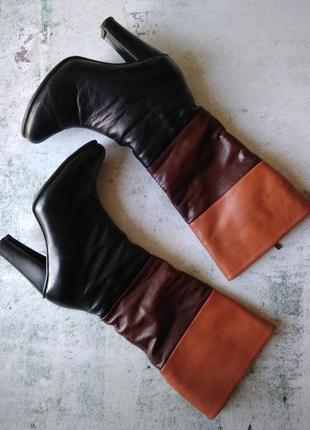 Кожаные сапоги/ зимние кожаные сапоги/ теплые кожаные сапоги