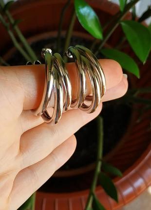 Серьги в стиле zara серебро серёжки сережки тренд