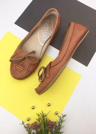 Кожаные туфли мокасины с бахромой