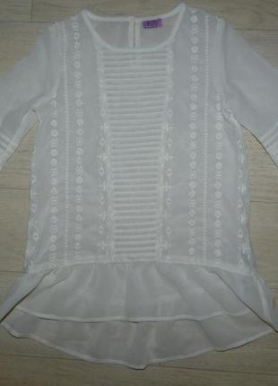 Шифоновая блузка молочного цвета f&f 8-9 лет