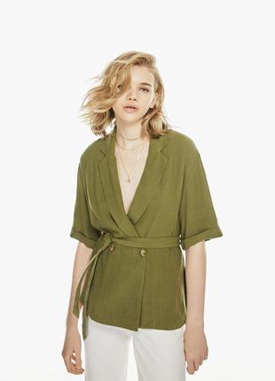 Пиджак жакет блейзер с поясом  винтажный хаки фисташка лён льняной  новый качество