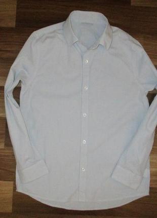 Серенькая котоновая рубашечка фирмы некст на 9-10 лет
