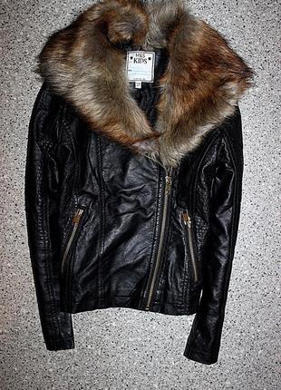 Куртка косуха с меховым воротником