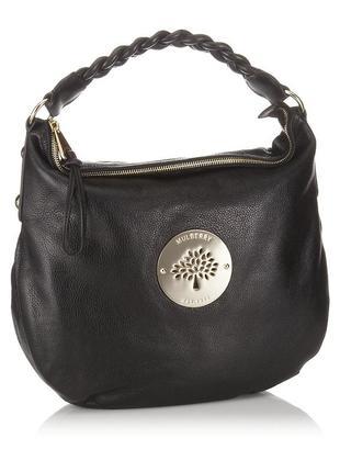 Роскошная бохо кожаная сумка, натуральная кожа, темно коричневая, mulberry оригинал
