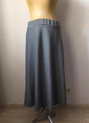 Классная трикотажная юбка в черно-белую клеточку от lc waikiki, размер евр 42, укр 48-50