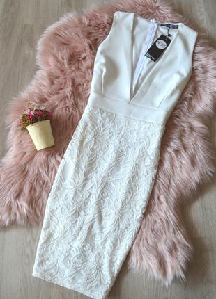 Новое платье с кружевной юбкой и глубоким декольте boohoo1 фото