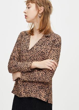 Рубашка блуза оверсайз свободного кроя леопард принт качество новая