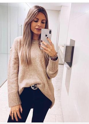 Тёплый удлинённый oversized свитер туника джемпер в трендом цвете zara1 фото