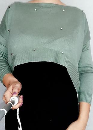 Кроп-топ, короткий джемпер из модала с жемчужинами 12-16 размер, италия