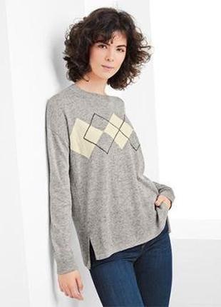 Женский стильный свитер узор ромб с содержанием шерсти tchibo