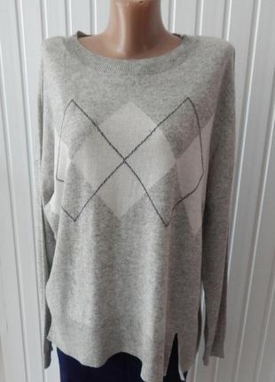 Женский стильный свитер узор ромб с содержанием шерсти tchibo5 фото