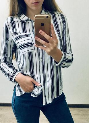 Блузка блуза рубашка полосатая полосата h&m