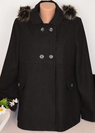 Черное шерстяное демисезонное пальто полупальто с меховым капюшоном next вьетнам
