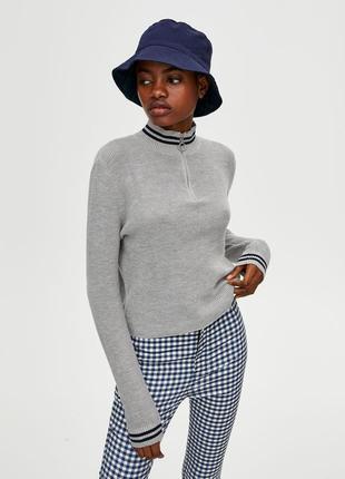 Джемпер свитер водолазка свитшот серый  с замком новая качество