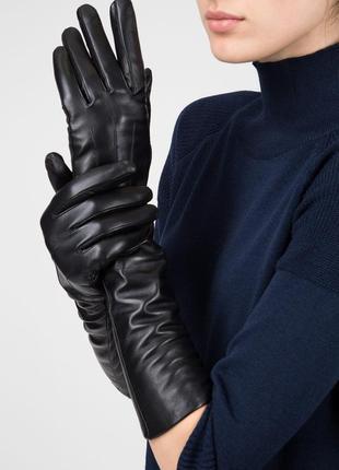 Длинные высокие перчатки из натуральной кожи 7,5\8р рукавички nappa