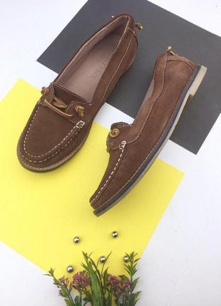 Замшевые туфли мокасины на низком ходу