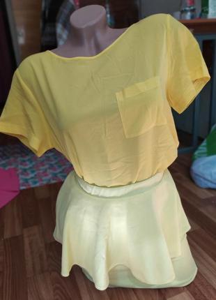 Костюм, юбка с баской, блузка