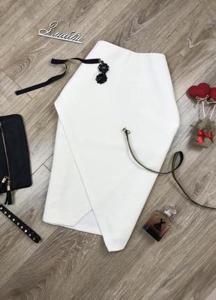 Шикарная,плотная,асимметричная юбка в поперечный рубчик от h&m 🔥