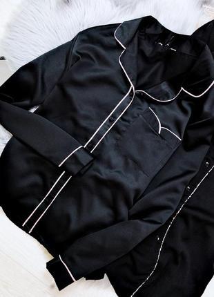 Пижама рубашка для сна черная на пуговицах размер m