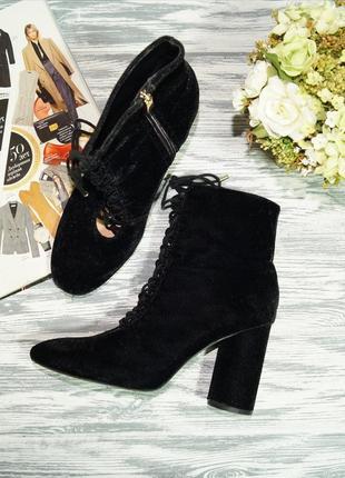 Zara. фирменные модные ботинки на круглом каблучке