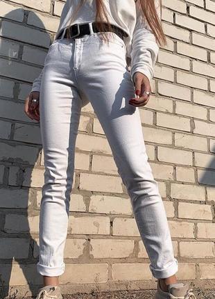 Женские белые джинсы брюки повседневные штаны