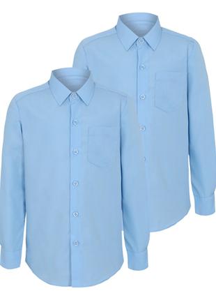 Голубая школьная рубашка slim fit george мальчику, 6-7 лет
