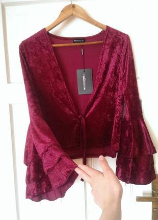 Трендова оксамитова блуза/жакет з рукавами-кльош, рюшами від plt, на р. м