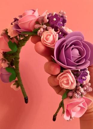 Яркий розовый сиреневый цветочный обруч ободок венок с розами цветами для фотосессии