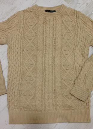 Бежевый свитер zara с косами