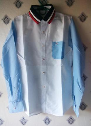 Рубашка с трикотажным воротником