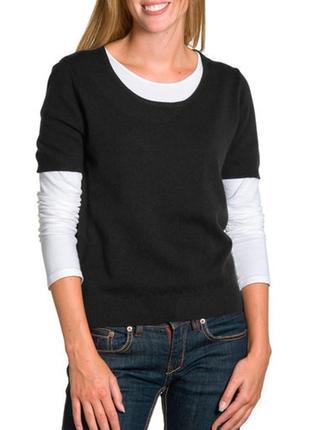 Базовый черный трикотажный джемпер футболка кофта