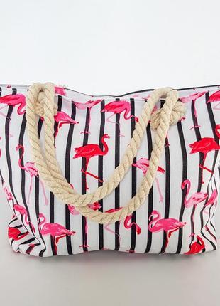 Пляжная сумка с фламинго