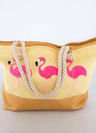 Пляжная сумка. летняя сумка. сумка с розовым фламинго