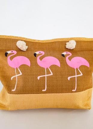 Пляжная сумка. летняя сумка. сумка с розовым фламинго. стильная сумка