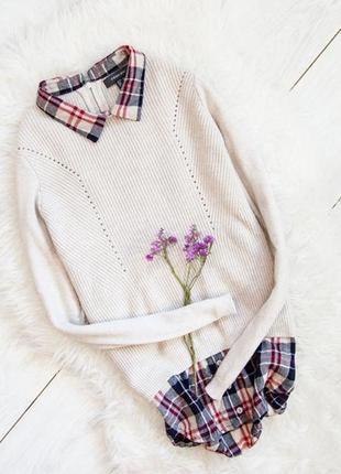 Кремoвый свитер с имитацией рубашка в клетку primark
