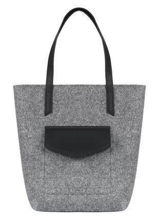 Gb27 войлочная сумка gmakin vella серая с черным кожзамом