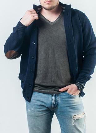 Очень крутой кардиган люкс бренда luigi borrelli napoli navy blue sweater