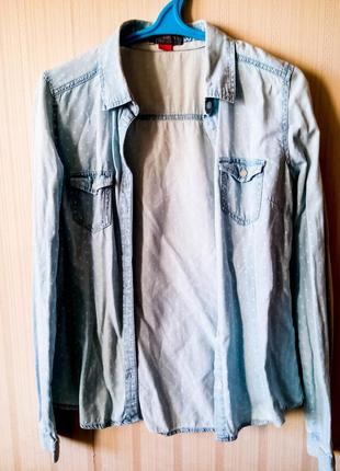 Рубашка colins колинз голубая горошек белая качественная нежная женственная классика